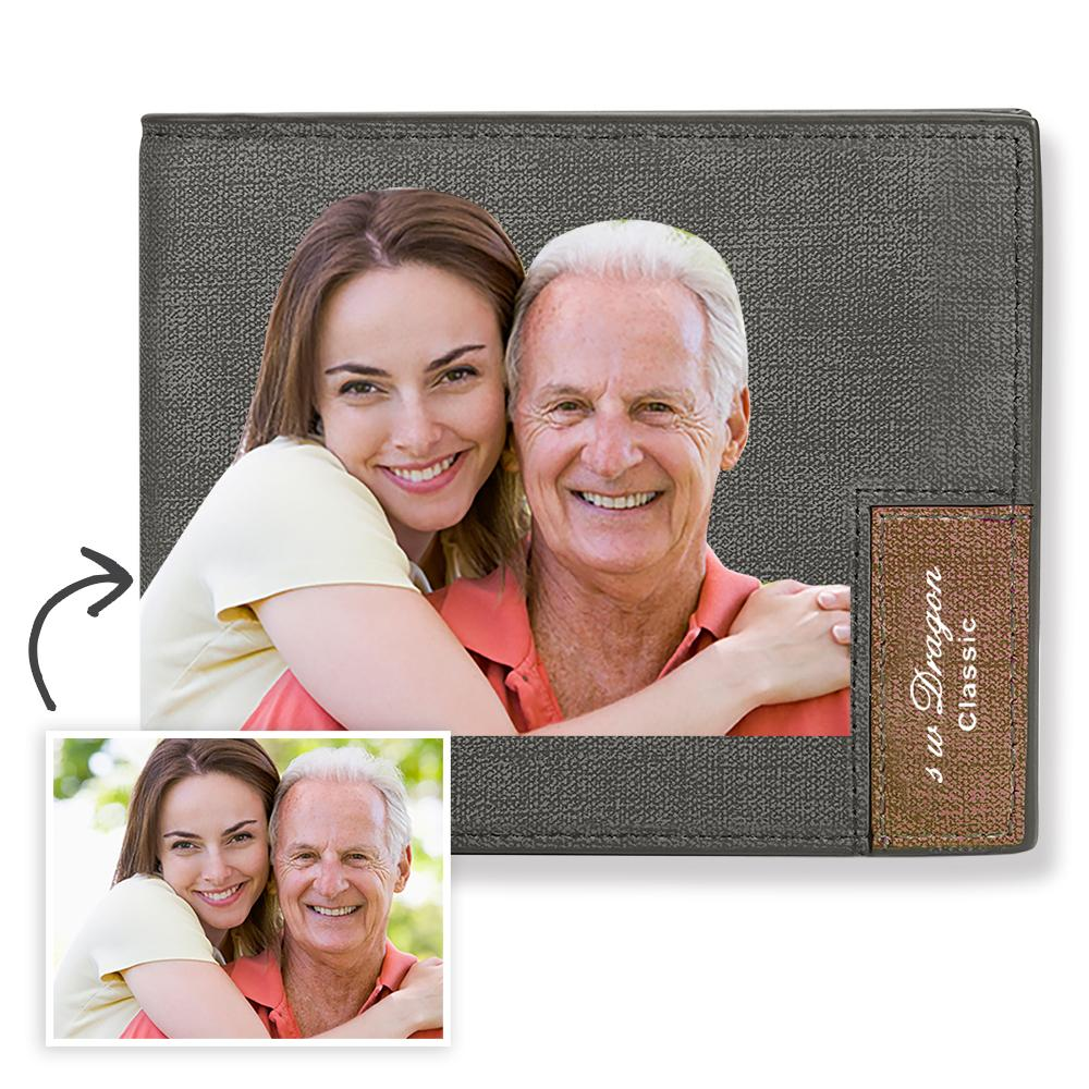 Short Custom Photo Wallet Grey Color Printing