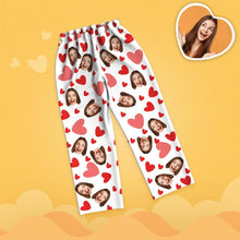 Valentine's Day Custom Face Red Heart Printed Long Sleeve Pajamas