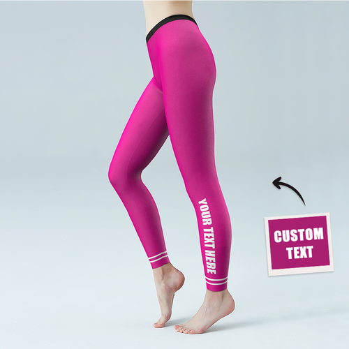 Women's Yoga gym pants Custom Text Leggings - Lower Side Leg Personalized Customized Printed Logo