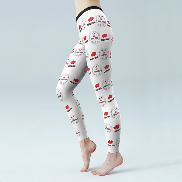 Custom Heart I Love You Leggings With Your LOGO Personalized Gift
