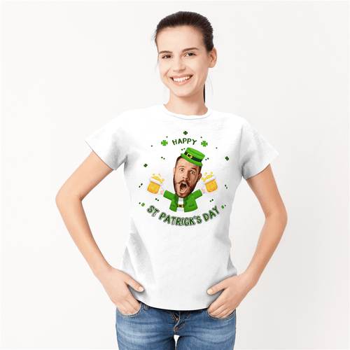 Custom Face Happy St. Patrick's Day Woman T-shirt - MyFaceSocks