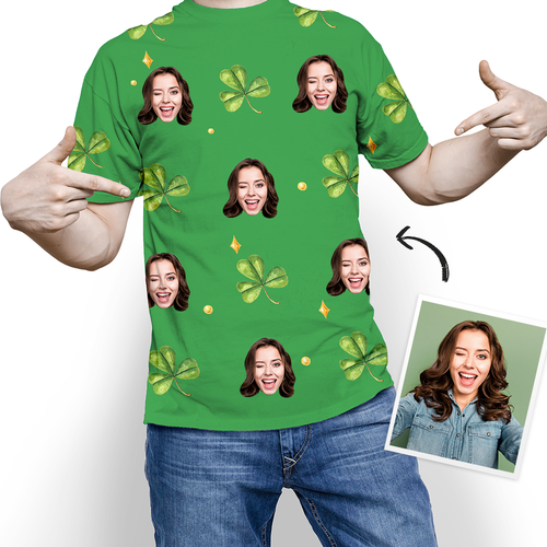 Custom Face Happy St. Patrick's Day Lucky Clover T-shirt