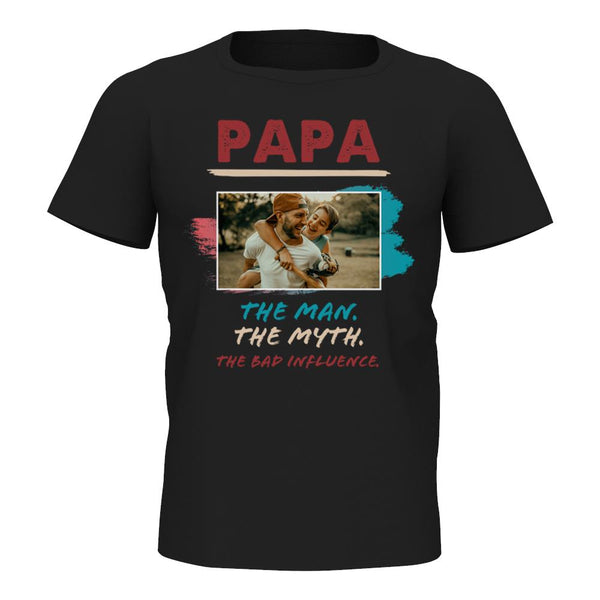 Custom Photo T-shirt Papa The Man The Myth - Myfacesocks