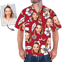 Custom Face Red Hawaiian Shirt Flowers And Leaves - myfacesocks