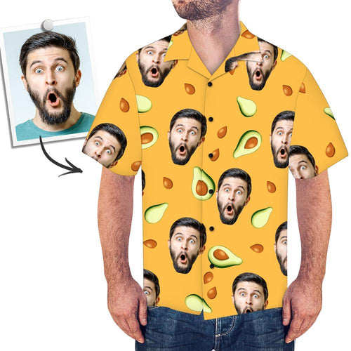 Custom Face Men's Hawaiian Shirt Avocado - myfacesocks