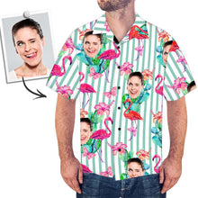 Custom Face All Over Print Stripe Hawaiian Shirt Flamingo - myfacesocks
