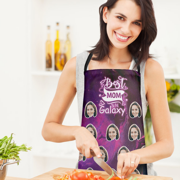 Custom Face Kitchen Apron - Best Mom In The Galaxy