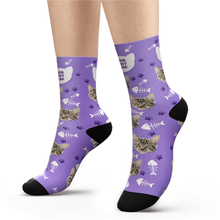 Custom Cat Socks With Your Text - MyfaceSocks