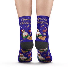 Custom Face Socks Santa Claus Sled Socks Add Pictures And Name