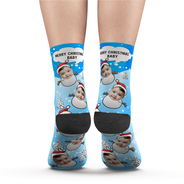 Custom Christmas Snowman Face Socks With Your Saying
