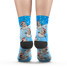 Custom Christmas Snowman Face Socks Add Pictures And Name