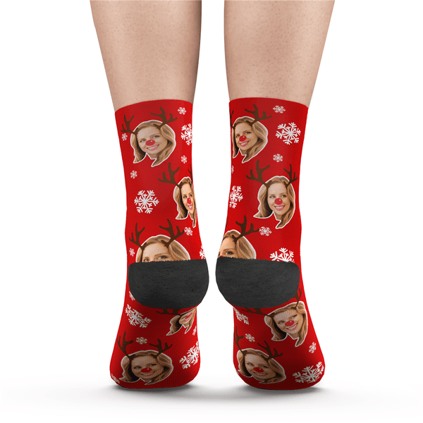 Custom Christmas Moose Face Socks
