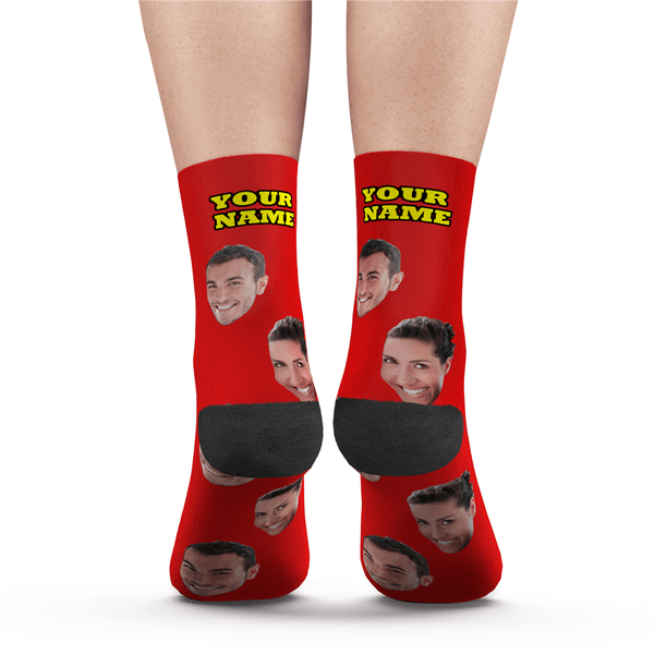 Custom Face Socks Colorful - Grey