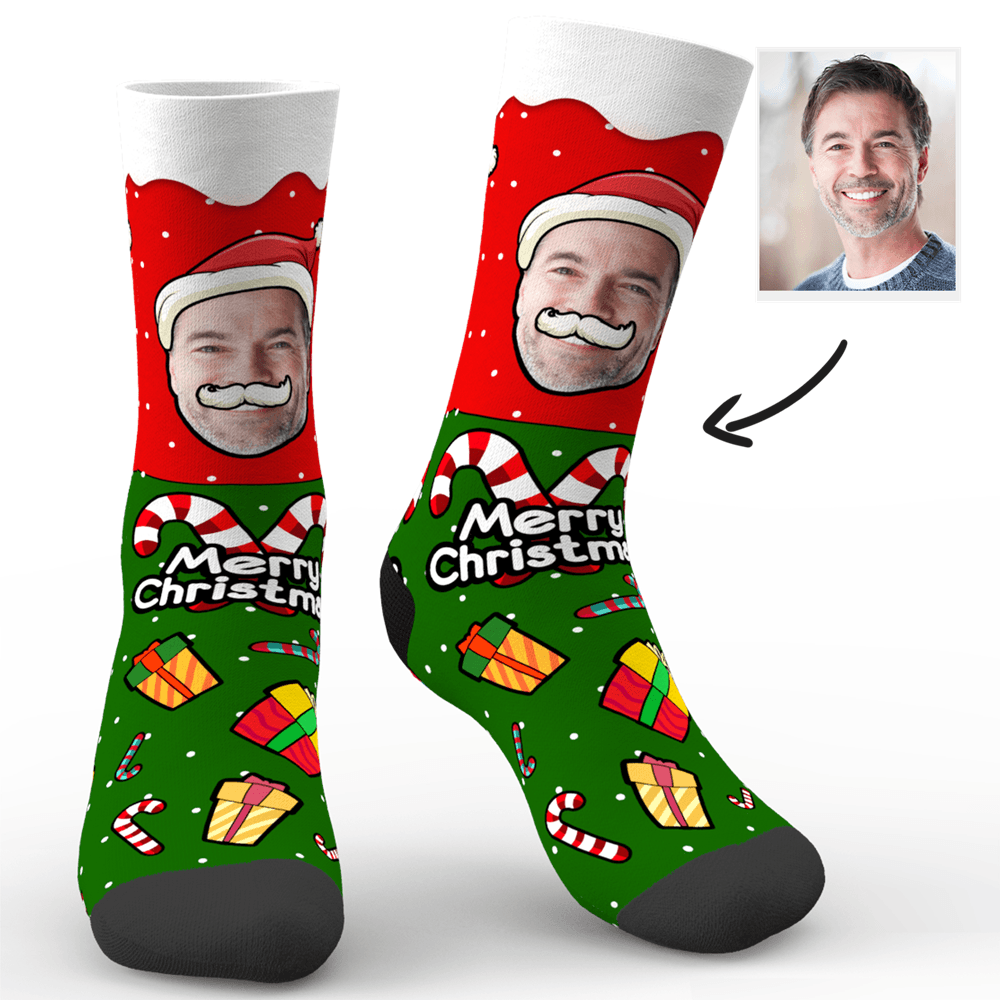 Custom Christmas Santa Claus Face Socks