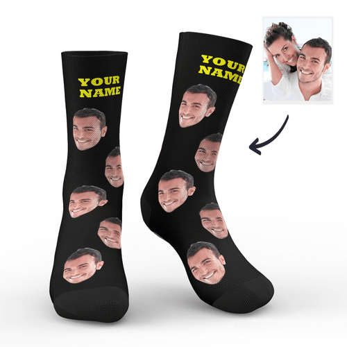 Custom Face Socks Colorful - Black