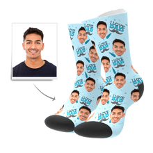 Custom  I Love Dad Socks 3D Preview