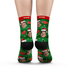 Custom Face Socks Christmas Heart Add Pictures And Name