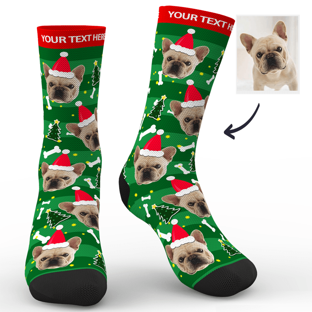 Custom Face Socks Christmas Dog Add Pictures And Name