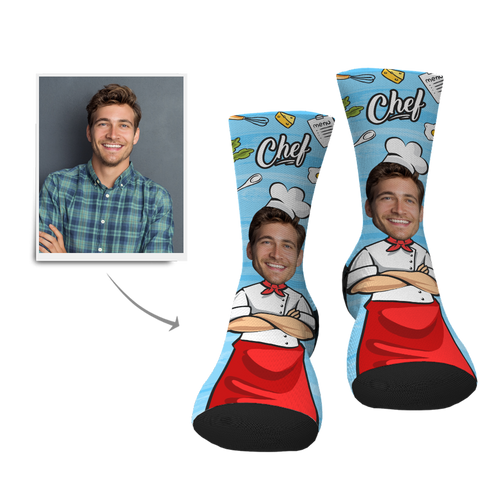 Custom Face Socks-Chef