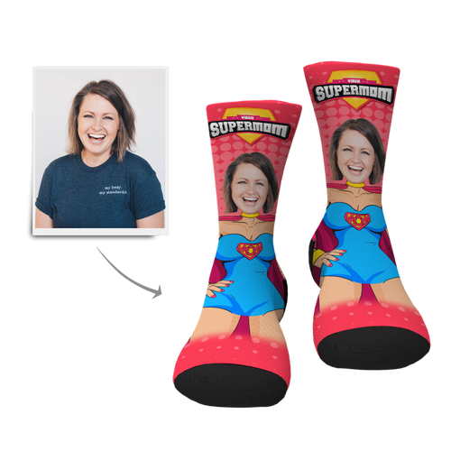 Custom Face Socks-Supermom