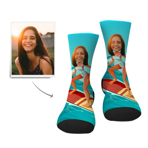 Custom Face Socks-Surfing Lady