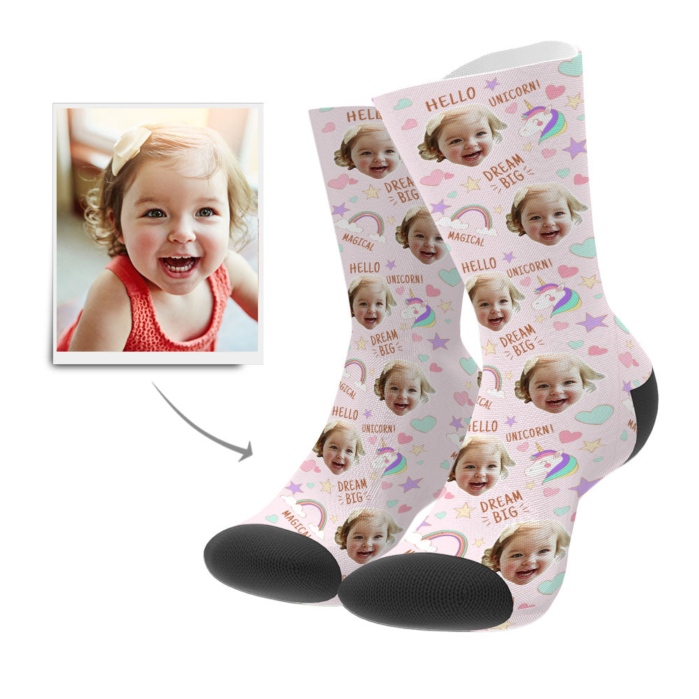 Custom Face Socks - Rainbows & Unicorns