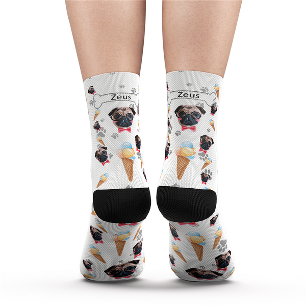 Custom Pet Dog Socks Ice Cream - MyPhotoSocks