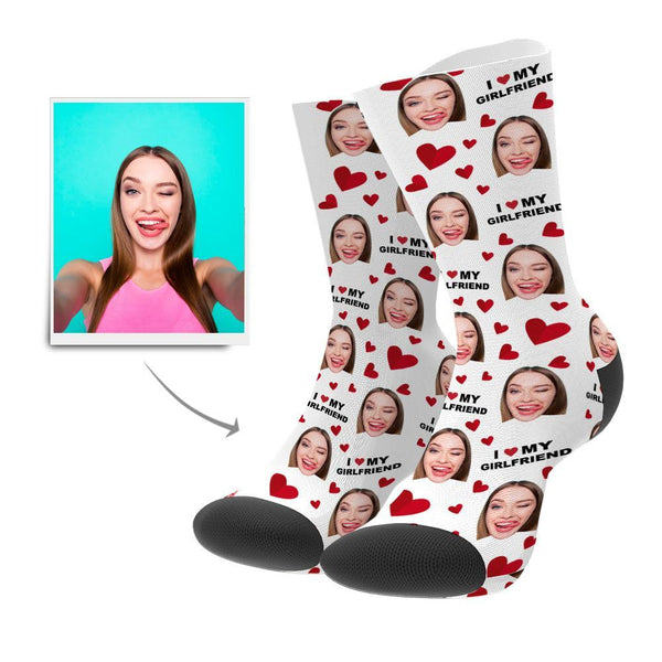 Custom Love Heart Face Socks Add Pictures And Name