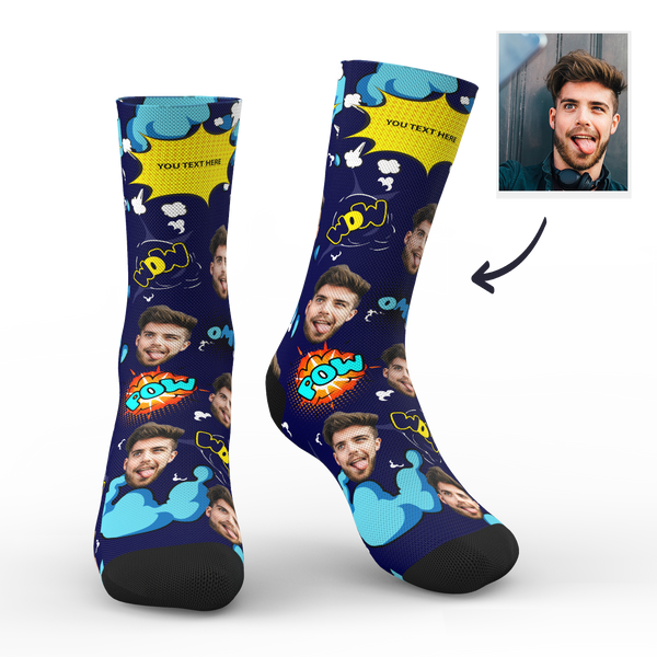 Custom Face Socks Comic Bang With Your Saying