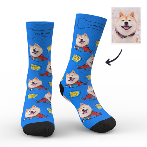 Custom Face Socks Super Dog Add Pictures And Name