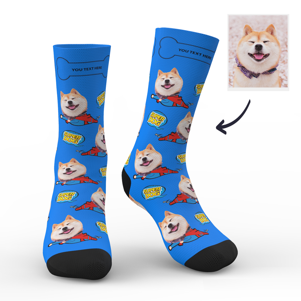 Custom Face Socks Super Dog With Your Saying