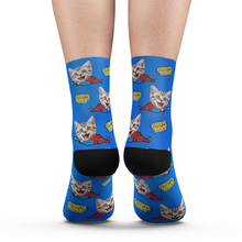 Custom Face Socks Super Cat Add Pictures And Name