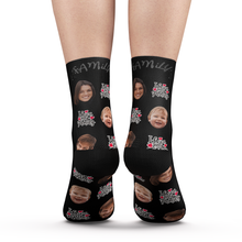 Custom Face Socks I love Family Add Pictures And Name