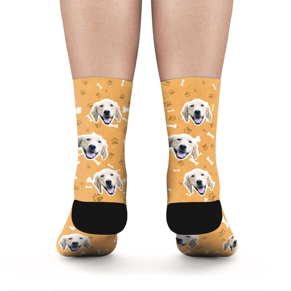 Custom Rainbow Socks Dog With Your Text - Orange - MyFaceSocks