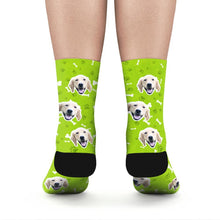 Custom Rainbow Socks Dog With Your Text - Green - MyFaceSocks