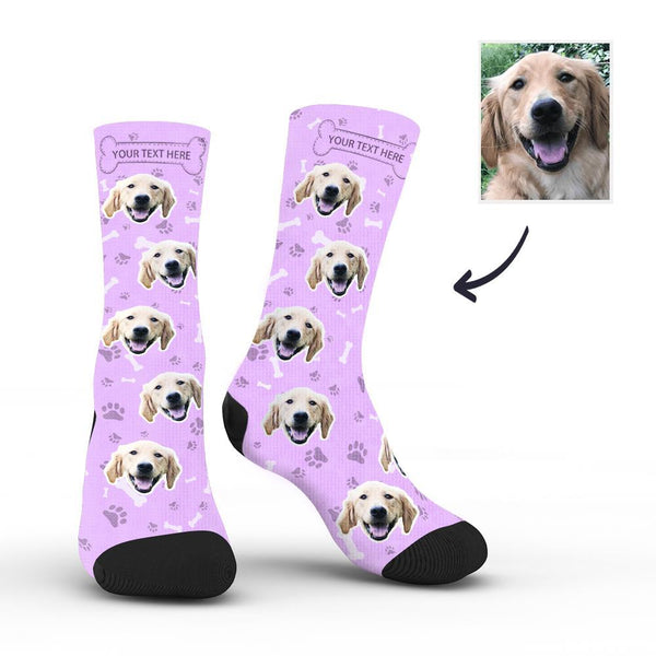 Custom Rainbow Socks Dog With Your Text - Purple - MyFaceSocks