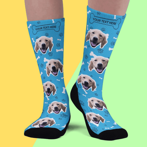 Custom Upgrade Breathable Dog Socks Add Pictures And Name