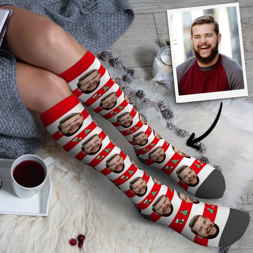 Custom Photo Knee High Socks Stripe Christmas