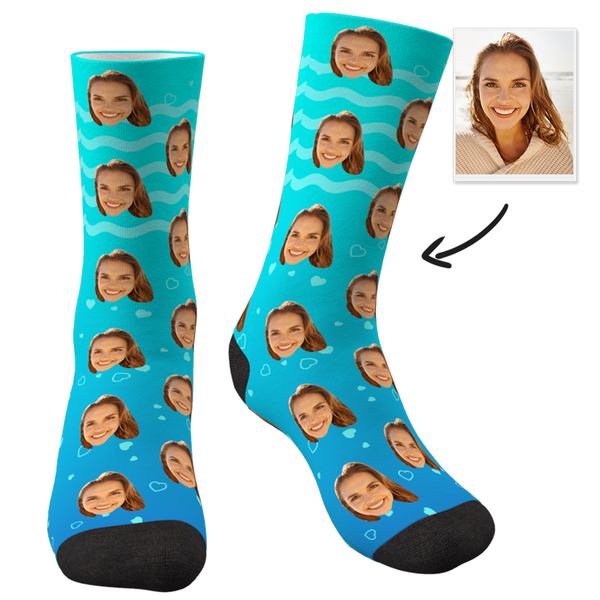 Custom Face Socks-I lLove Mom