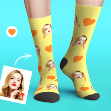 Custom Personalized Photo Emoticons Face Socks-Love Heart