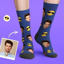 Custom Personalized Photo Funny Emoticons Face Socks-Sunglasses