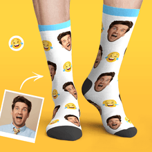 Custom Personalized Photo Funny Emoticons Face Socks-Smile Through Tears