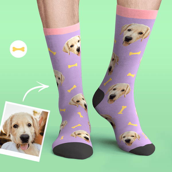 Custom Personalized Photo Pet Face Socks-Bone
