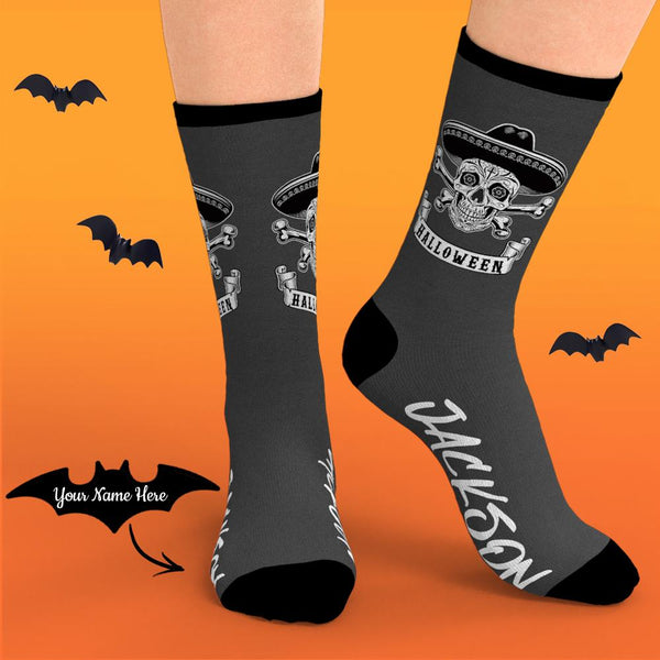 Custom Halloween Skeleton Socks With Your Name
