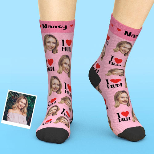 Custom Face Socks Add Pictures And Name I Love Mom Mother's Day Gift