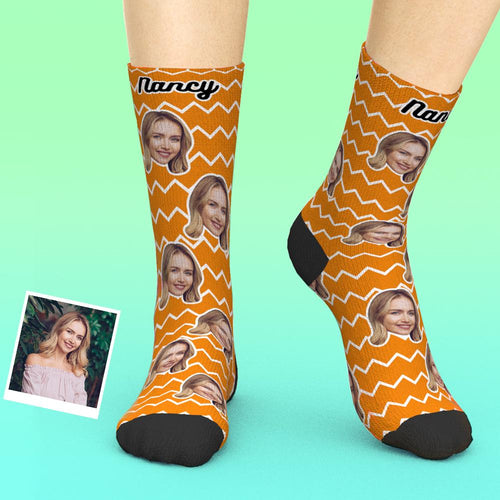 Custom Face Socks Add Pictures And Name Zigzag