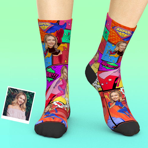 Custom Face Socks Add Pictures And Name Comics Supermom Mother's Day Gift
