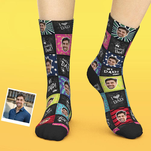 Custom Face Socks Add Pictures And Name - Greatest Dad