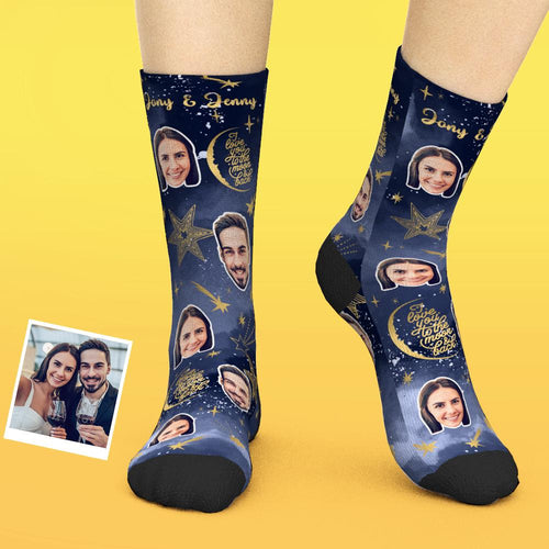 Custom Face Socks Add Pictures And Name - i Love You To The Moon & Back