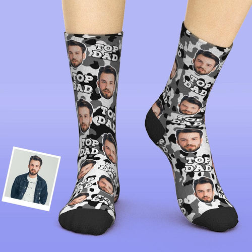 Custom Face Socks Add Pictures And Name - Camo Top Dad